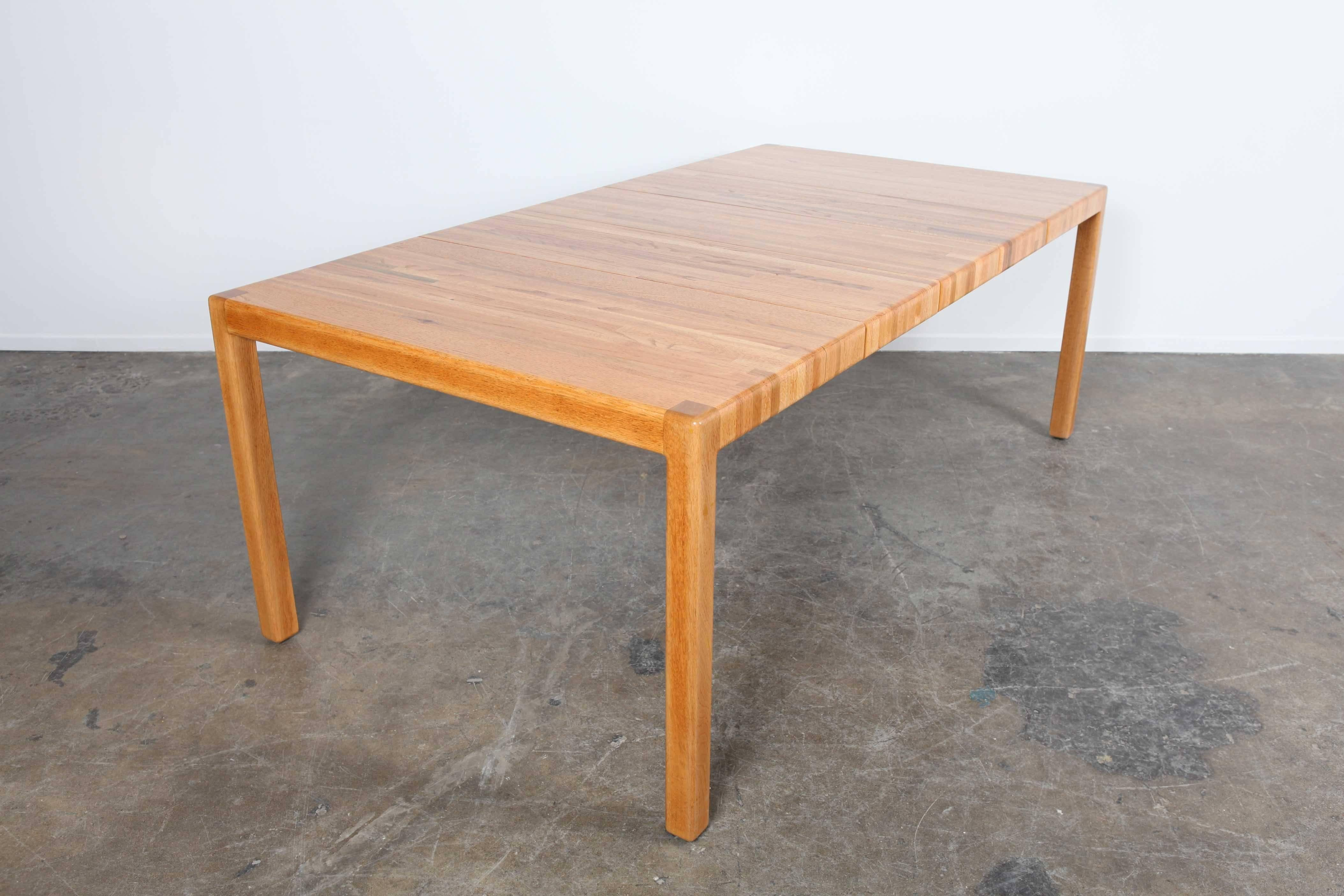 Solid Oak Parsons Dining Table With Three Extensions By Lou Hodges