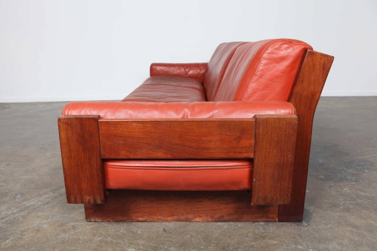 Mid-Century Modern Red Leather Three-Seat Sofa by Torbjørn Afdal For Sale 3