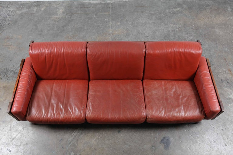 Mid-Century Modern Red Leather Three-Seat Sofa by Torbjørn Afdal For Sale 4