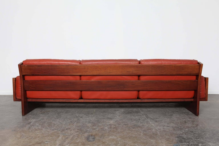 Mid-Century Modern Red Leather Three-Seat Sofa by Torbjørn Afdal For Sale 1