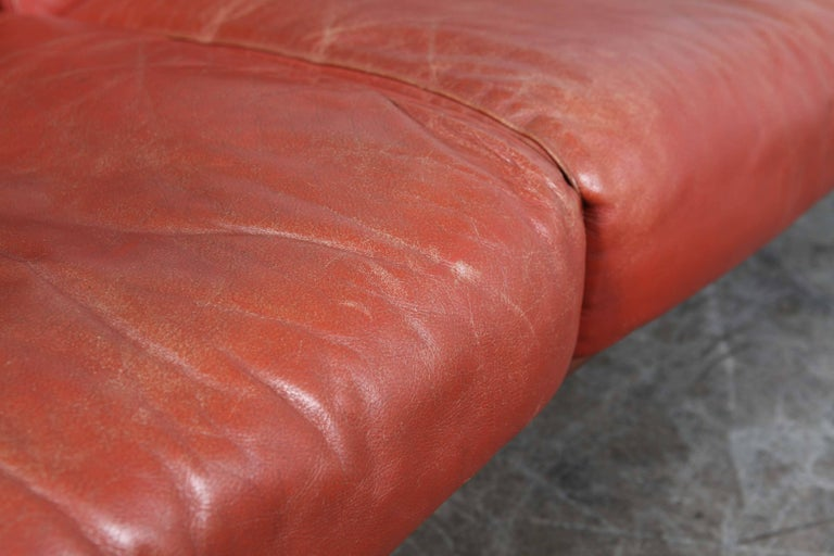 Mid-Century Modern Red Leather Three-Seat Sofa by Torbjørn Afdal In Good Condition For Sale In North Hollywood, CA