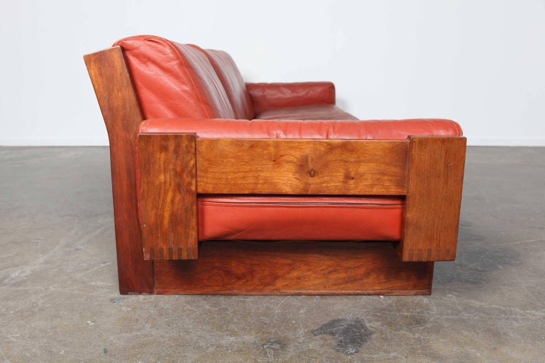 Mid-20th Century Mid-Century Modern Red Leather Three-Seat Sofa by Torbjørn Afdal For Sale