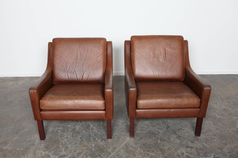pair of mid century modern swedish brown leather lounge chairs for