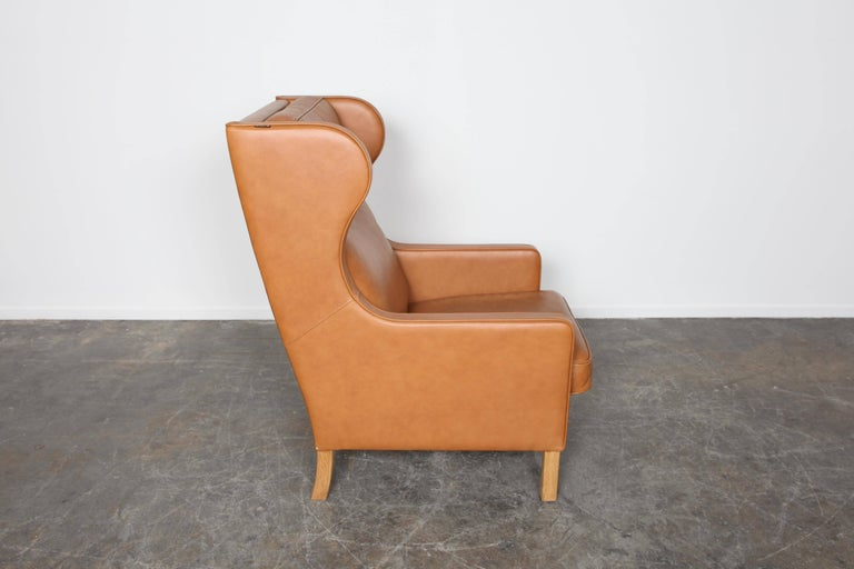 camel leather chair camel leather wingback lounge chair by b 248 rge mogensen for 1960