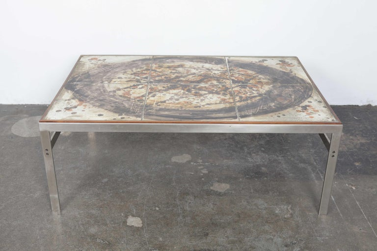 Scandinavian Modern 1960s Ceramic Tile and Metal Coffee Table by Birte Howard, Denmark For Sale
