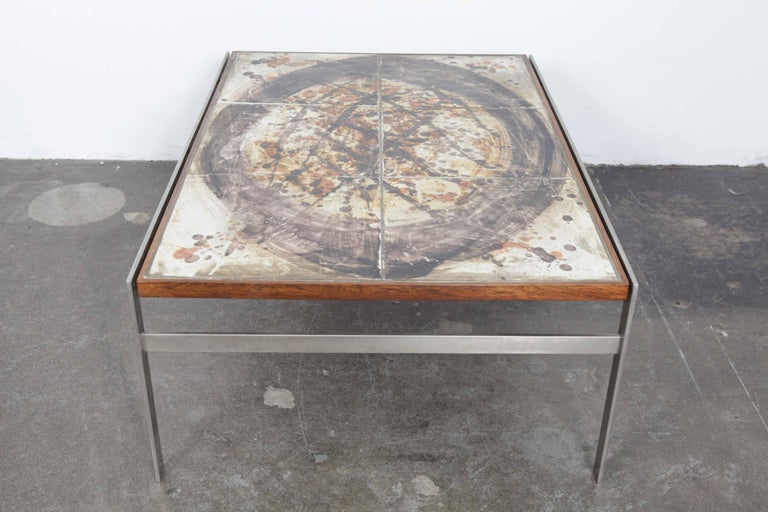Danish 1960s Ceramic Tile and Metal Coffee Table by Birte Howard, Denmark For Sale