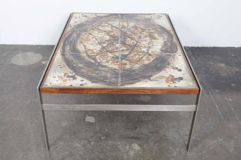 Other 1960s Ceramic Tile and Metal Coffee Table by Birte Howard, Denmark For Sale