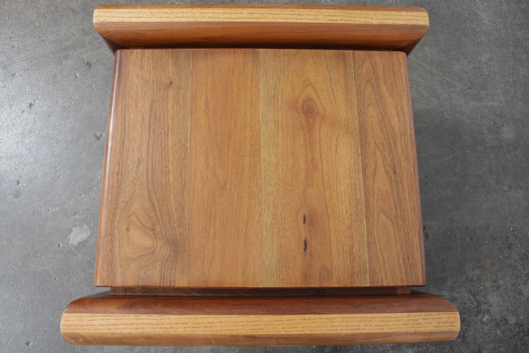 Oiled Pair of Matching Walnut 1970s Chunky End Tables For Sale