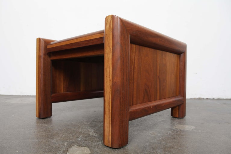 American Pair of Matching Walnut 1970s Chunky End Tables For Sale