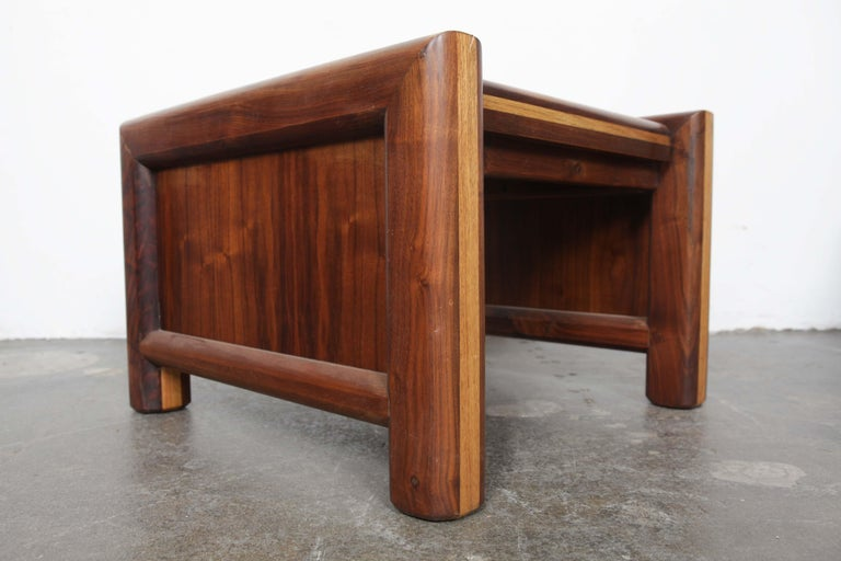 Pair of Matching Walnut 1970s Chunky End Tables For Sale 1