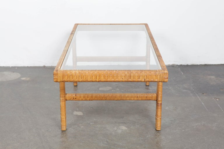 Scandinavian Modern Unique Danish 1960s Rattan and Glass Top Mid-Century Modern Coffee Table For Sale