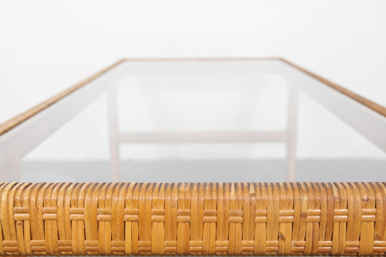 Unique Danish 1960s Rattan and Glass Top Mid-Century Modern Coffee Table For Sale 3