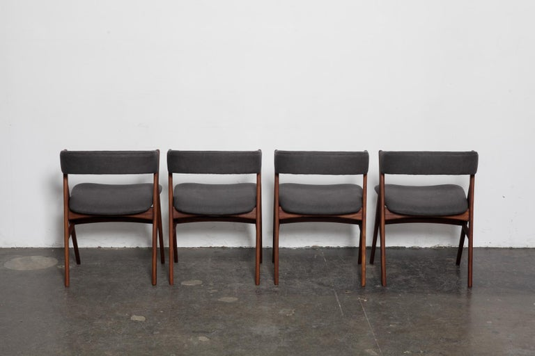 Oiled Set of 4 Teak 1950s Curved Back Danish Dining Chairs For Sale