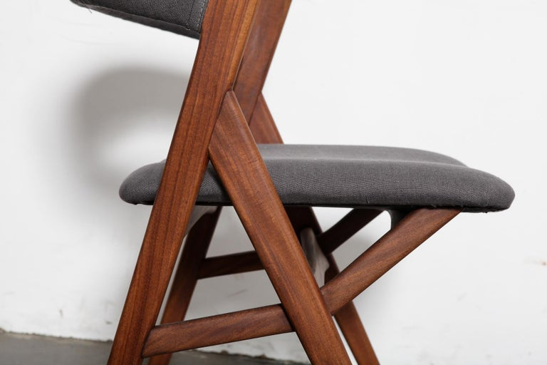 Set of 4 Teak 1950s Curved Back Danish Dining Chairs For Sale 3