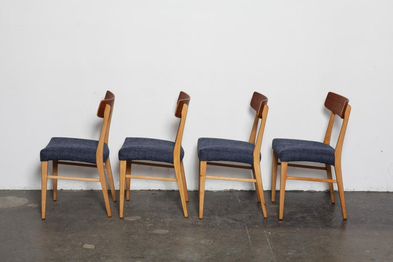 Oiled Set of 4 Teak and Beech 1950s Danish Modern Dining Chairs with Navy Seats For Sale
