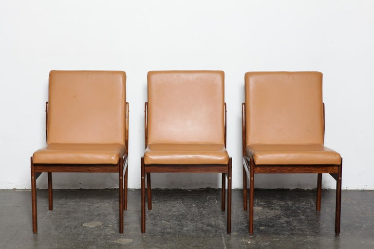 Lacquered Set of 6 Brazilian Rosewood Bent Back Dining Chairs in Leather For Sale