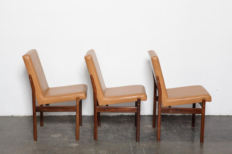 Mid-20th Century Set of 6 Brazilian Rosewood Bent Back Dining Chairs in Leather For Sale
