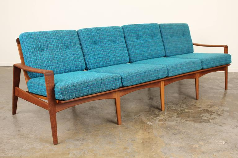 teak danish midcentury sofa by arne wahl iversen at 1stdibs. Black Bedroom Furniture Sets. Home Design Ideas