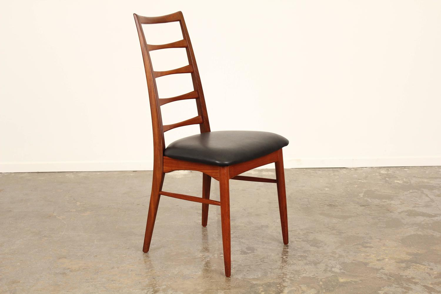Set Of Six Tall Ladder Back Teak And Leather Dining Chairs