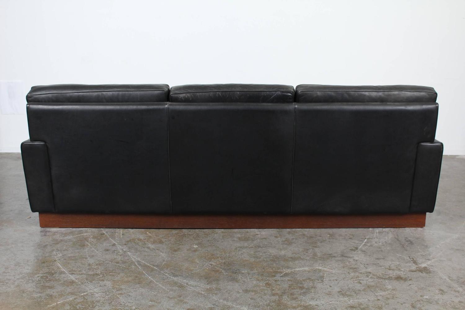 mid century modern black leather sofa by arne norell at 1stdibs