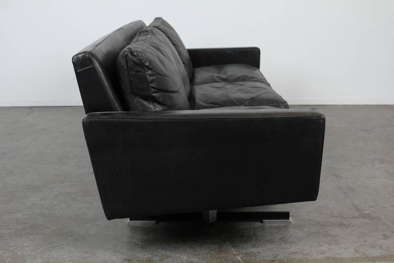 Mid Century Modern Black Leather Sofa With Chrome Legs 3
