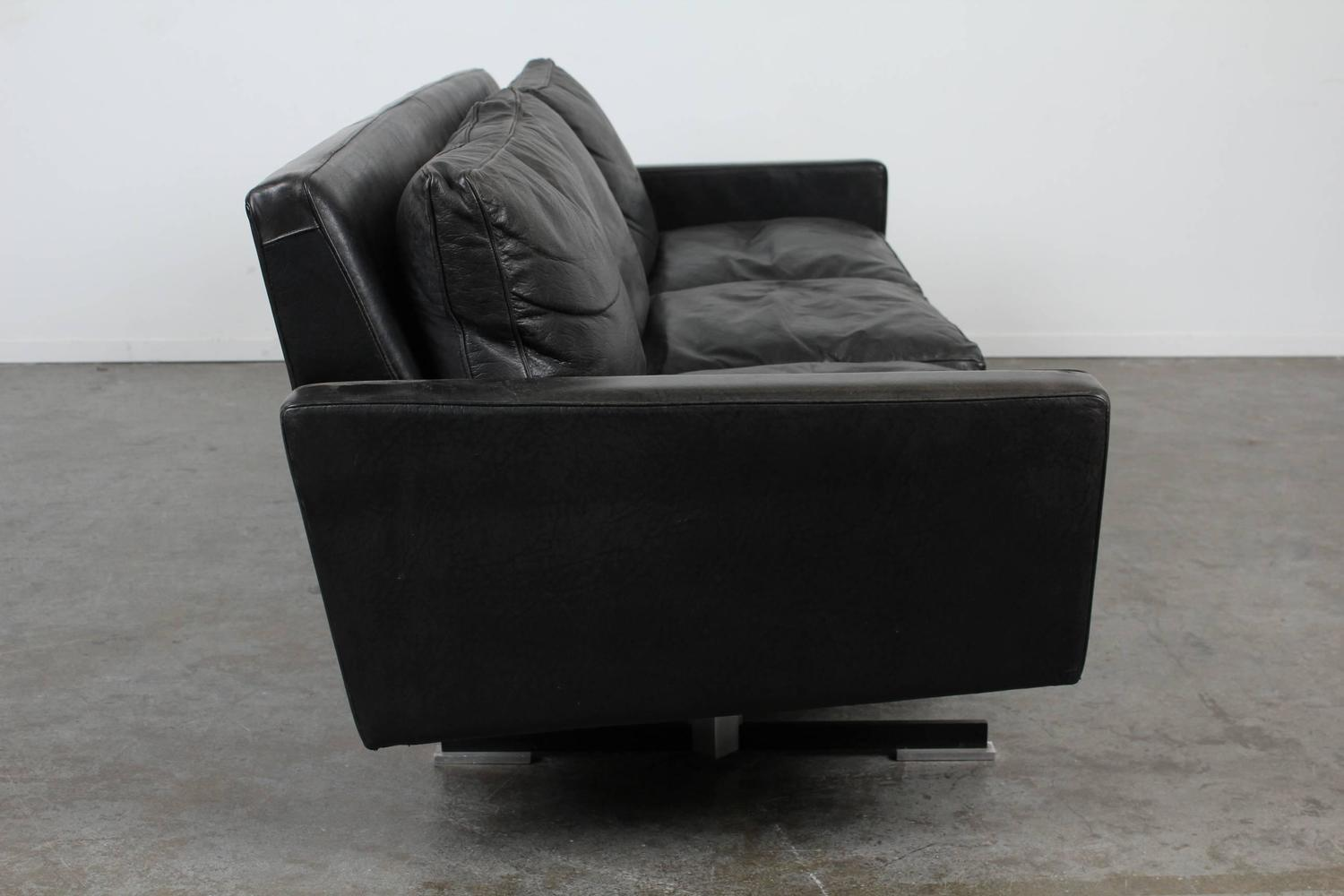 Mid century modern black leather sofa with chrome legs for for Mid century modern sofa for sale