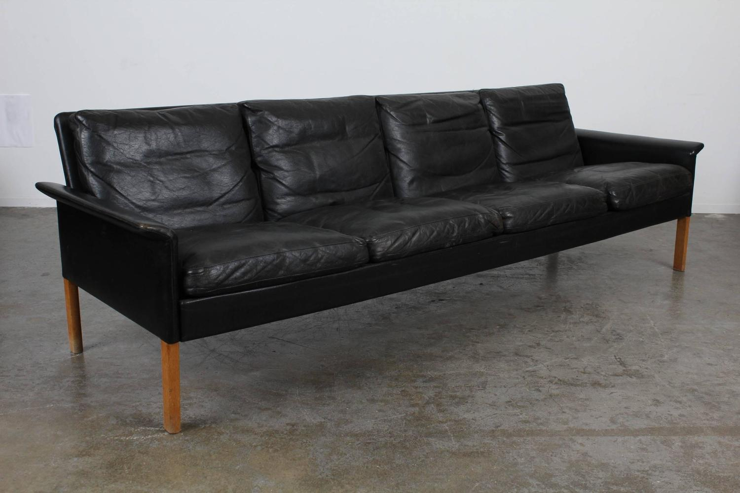 danish mid century modern hans olsen black leather sofa at 1stdibs