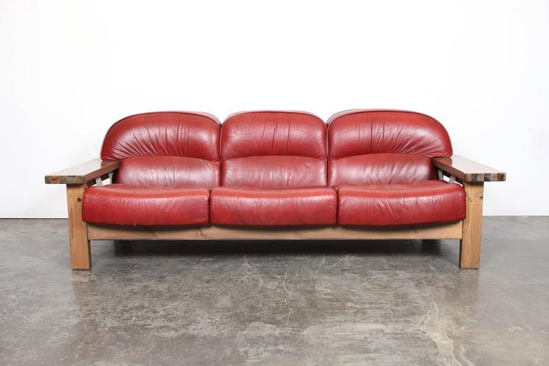 Mid Century Modern Red Leather Sofa By H 228 Meen Kalustaja