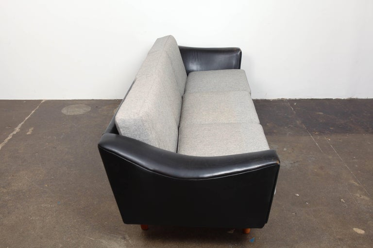 Teak Danish Mid-Century Modern Black Leather Tuxedo Sofa by Illum Wikkelso For Sale