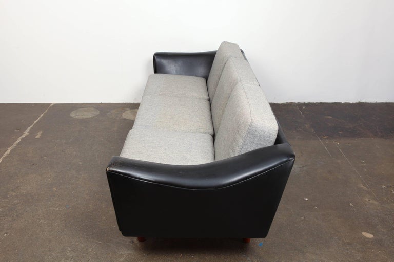 Mid-20th Century Danish Mid-Century Modern Black Leather Tuxedo Sofa by Illum Wikkelso For Sale