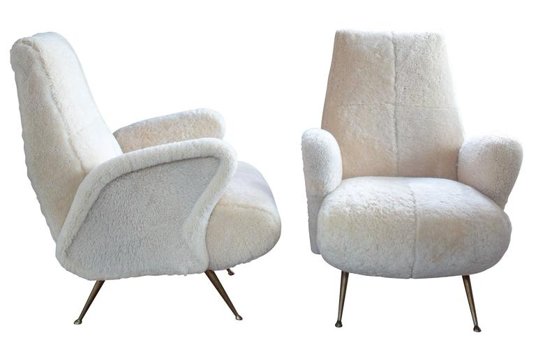 Pair of Mid-Century Italian Armchairs in Shearling in the Style of Frattini 2