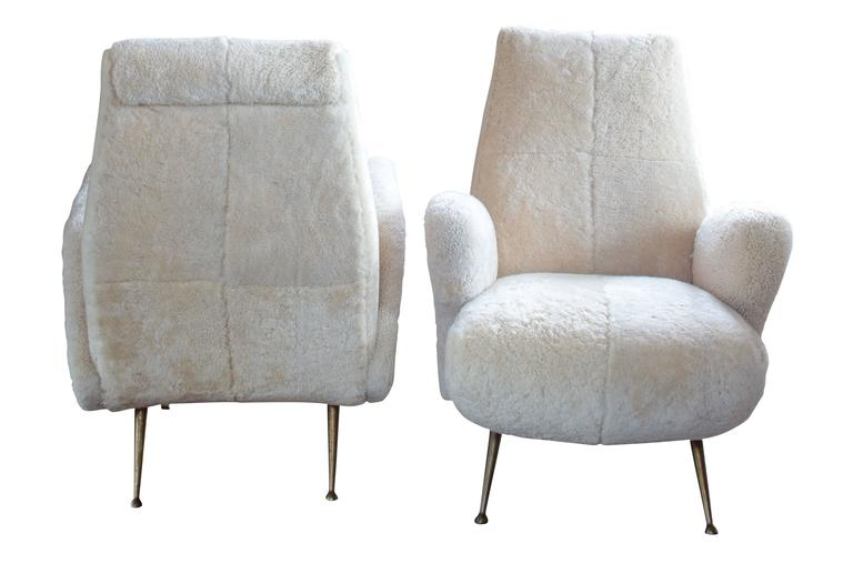 Pair of Mid-Century Italian Armchairs in Shearling in the Style of Frattini 3