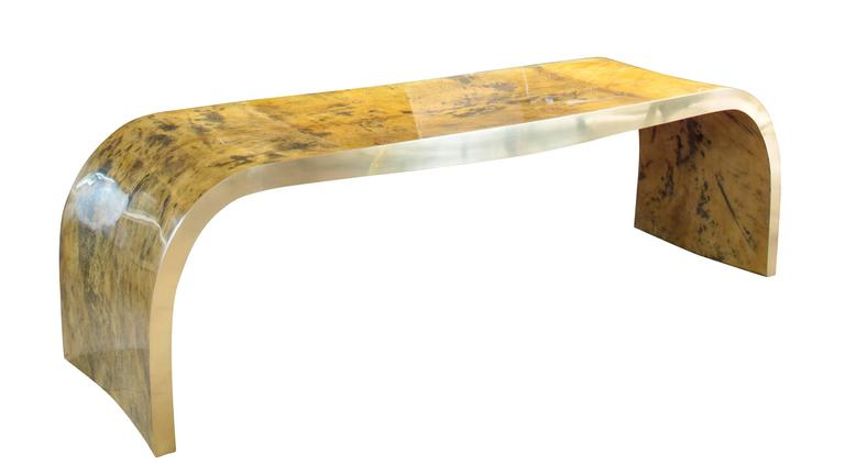 Stunning contemporary concave bench in vintage color goatskin with polished top coat in the style of Karl Springer.