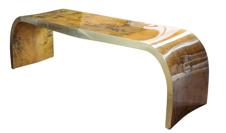 Mid-Century Modern Concave Bench in Vintage Color Goatskin in the Style of Karl Springer For Sale