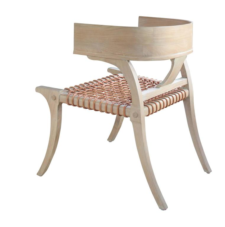 Klismos Chair in Teak with Leather Straps in the Style of Robsjohn-Gibbings 2