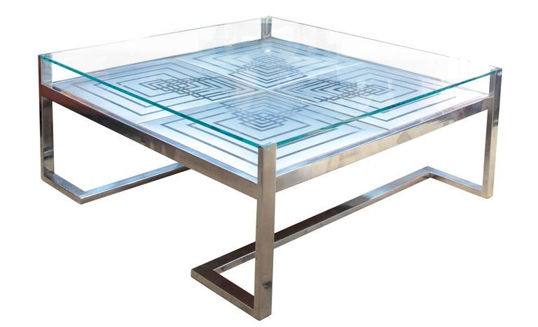 Italian 1970s Romeo Rega Coffee Table in Stainless Steel and Glass For Sale