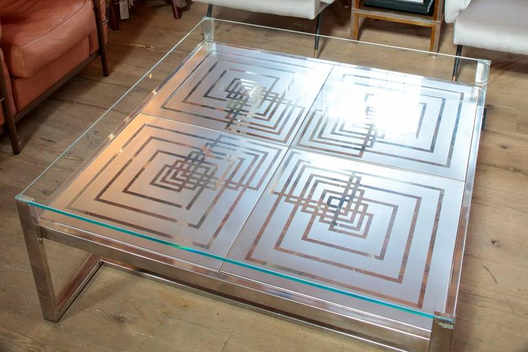 Mid-Century Modern 1970s Romeo Rega Coffee Table in Stainless Steel and Glass For Sale