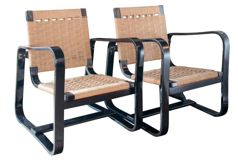 Pair of 1942 Giuseppe Pagano Chairs in Black Lacquer and Original Caning 3