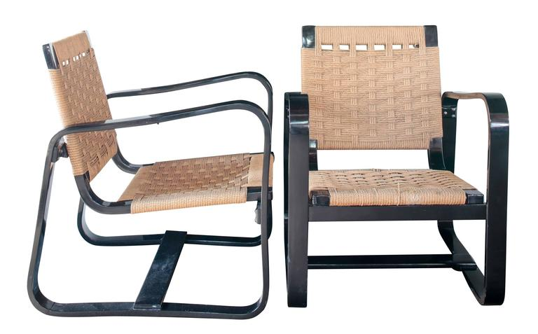 Pair of 1942 Giuseppe Pagano Chairs in Black Lacquer and Original Caning 2