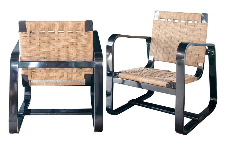 Pair of 1942 Giuseppe Pagano Chairs in Black Lacquer and Original Caning 5