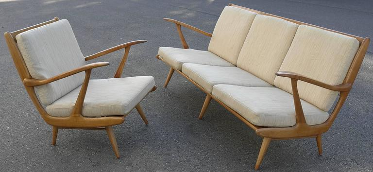 Mid-Century Modern Organic Carlo Mollino Style Sofa with Armchair For Sale