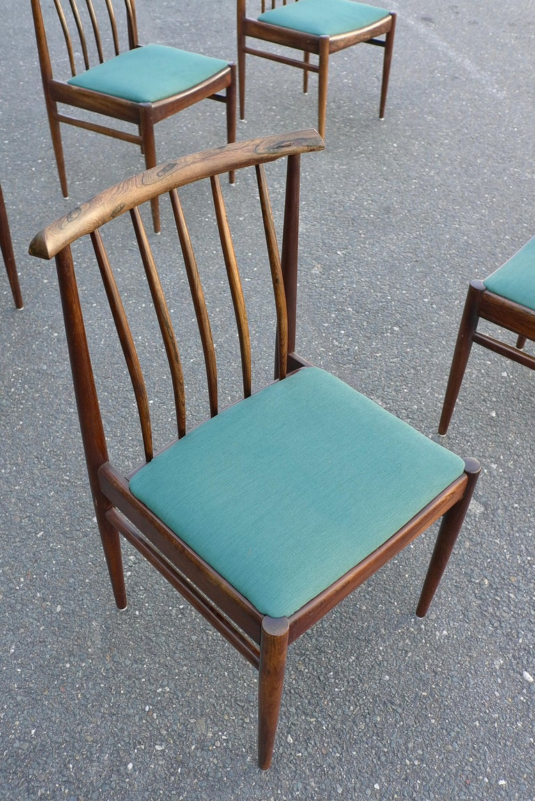 Set of Six Danish Solid Rosewood Dining Chairs with Turquoise Color ...
