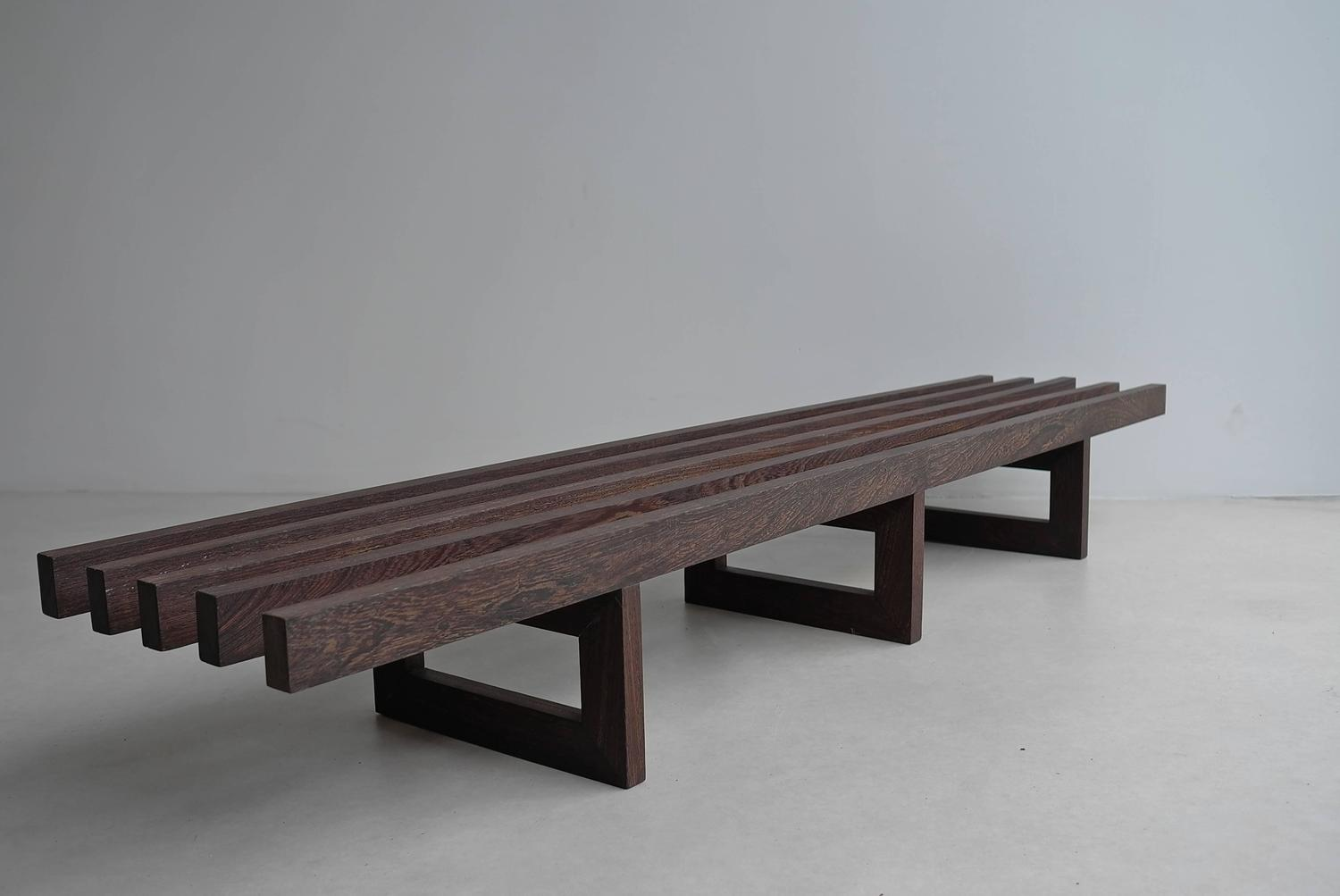 Large Architectural Wenge Slat Bench For Sale At 1stdibs