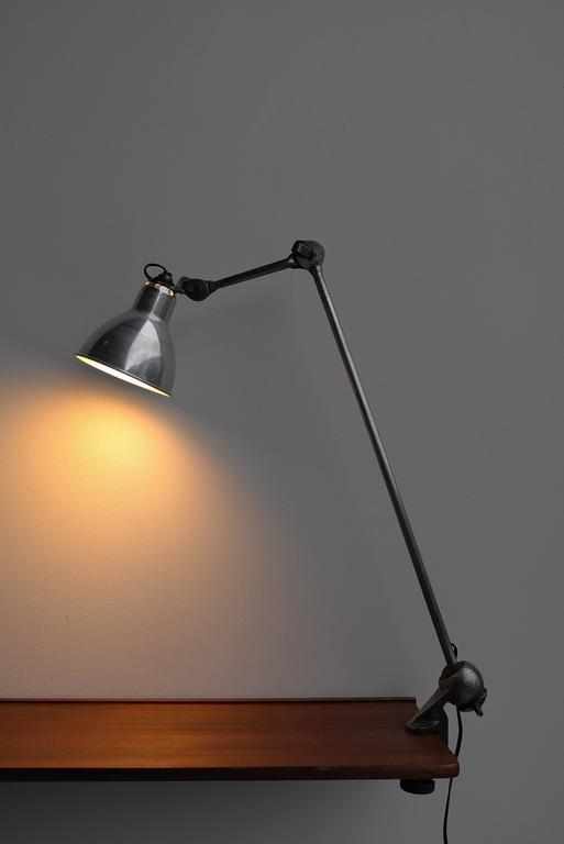 Aluminum  Lampe Gras No. 201 Table Lamp, France circa 1930  For Sale