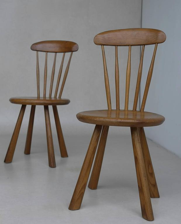 20th Century Solid pine side chairs, France 1950's For Sale