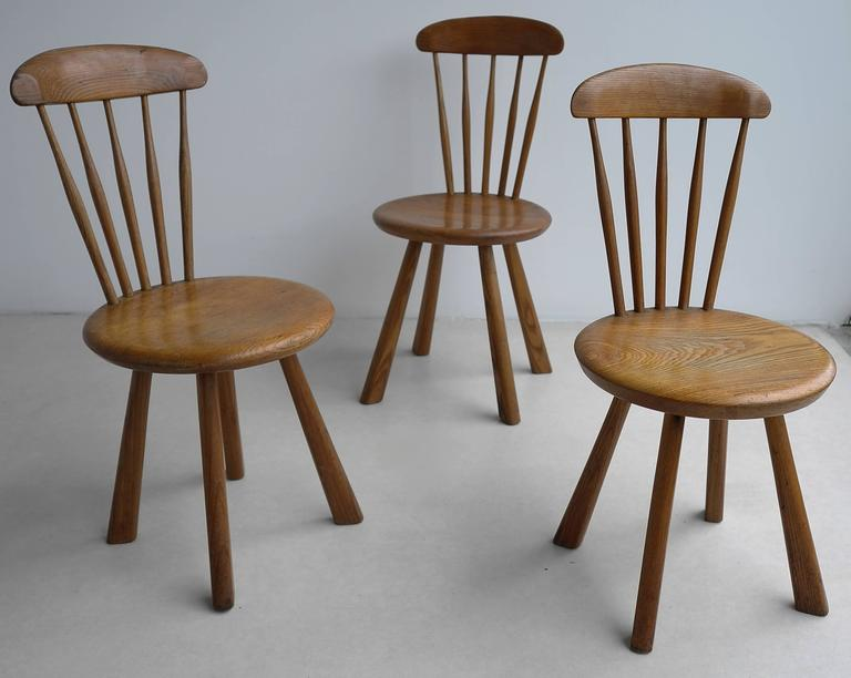 Solid pine side chairs, France 1950's In Good Condition For Sale In The Hague, NL