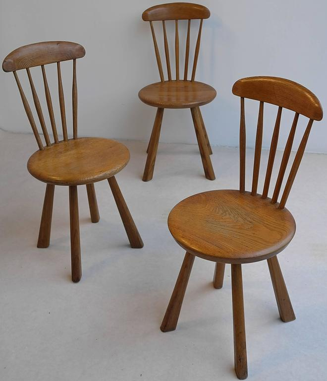 Solid pine side chairs/stools, France 1950's