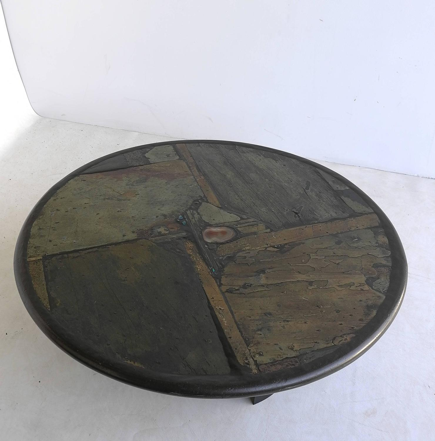Agate Marble And Brass Round Cocktail Table At 1stdibs: Paul Kingma Slate, Agate Stone, Art Coffee Table For Sale