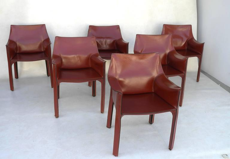 Mario Bellini Leather Cab Chairs By Cassina, Italy 2