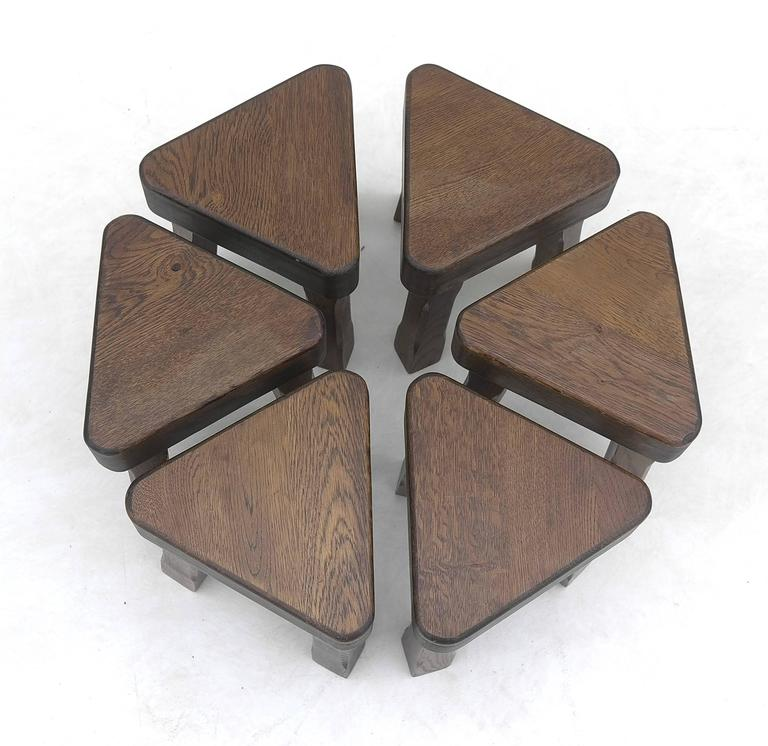 Oak sculptural nesting tables from the 1960s in the style of Lisa Johansson-Pape.